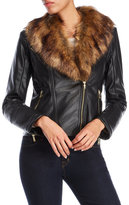 Cole Haan Faux Fur Collar Moto Jacket