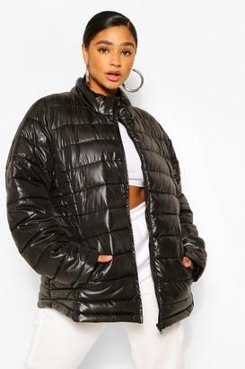 boohoo Plus High Shine Funnel Neck Puffer Coat