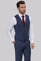 Moss Bros Tailored Fit Blue Basket Weave Waistcoat