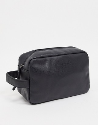 French Connection faux leather wash bag in black