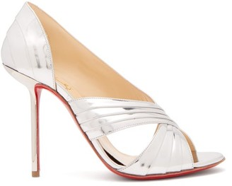 Christian Louboutin Drapa Notta 100 Metallic Patent-leather Pumps - Silver