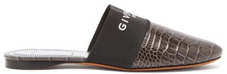 Givenchy Bedford Logo-trim Leather Mules - Dark Grey