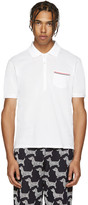 Thom Browne White Cotton Piqué Polo