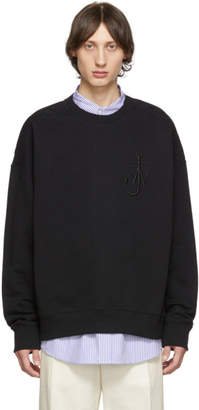J.W.Anderson Black Oversized Shoulder Placket Sweatshirt