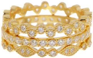 Sterling Forever 14K Gold Vermeil Cubic Zirconia Stackable Ring Set