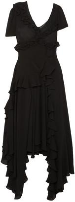 Preen by Thornton Bregazzi Wendie Asymmetric Ruffled Crinkled-georgette Midi Dress