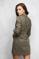 Rare Khaki Tie Front Shirt Dress