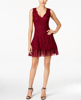 Betsy & Adam Lace-Overlay Tulle A-Line Dress