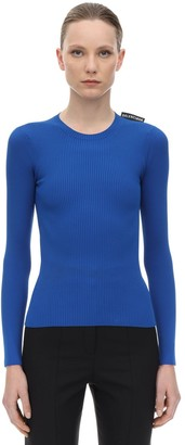 Balenciaga Viscose Blend Rib Knit Sweater