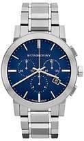 Burberry BU9363 Men's The City Chronograph Bracelet Strap Watch, Silver/Blue
