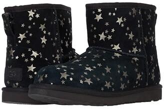 Ugg Kids Classic Mini II Stars (Little Kid/Big Kid) (Black) Girls Shoes
