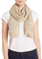 Echo Milk Frayed Trim Scarf