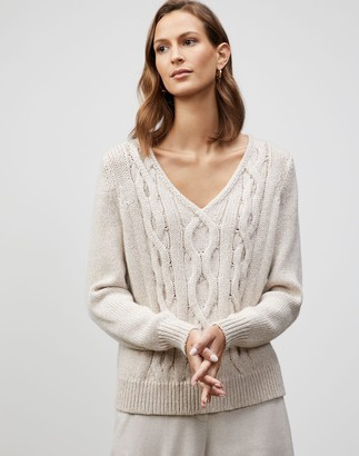 Lafayette 148 New York Plus-Size Lofty Italian Virgin Wool Chine Cable Pullover