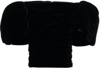 KHAITE Kai Puff-sleeve Ruched Velvet Top - Black