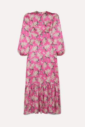 The Vampire's Wife Belle Pleated Floral-print Silk-satin Maxi Dress - Fuchsia
