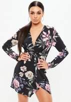 Missguided Black Floral Twist Front Wrap Shift Dress