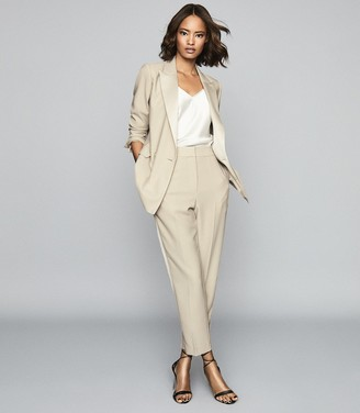 Reiss Cleo - Tailored Crepe Trousers in Champagne