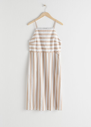 And other stories Striped Cotton Midi Dress