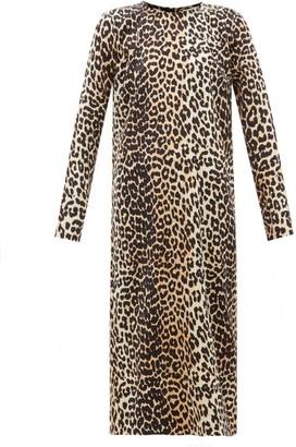 Ganni Leopard-print Stretch-satin Dress - Womens - Leopard