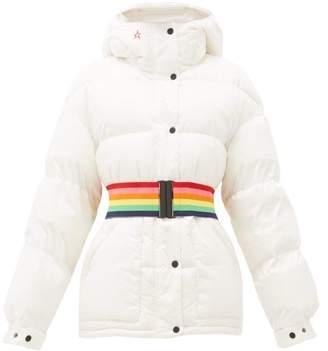 Perfect Moment Oversized Rainbow-belt Down-filled Ski Jacket - Womens - White