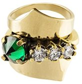 Iosselliani Set of 3 Gold Plated Brass Rings with Green Strass - Size M