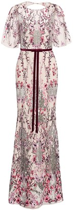 Marchesa Embellished Floral-Embroidered Gown