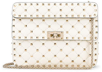Valentino Medium Rockstud Spike Shoulder Bag in Light Ivory | FWRD