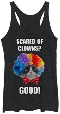 Fifth Sun Grumpy Cat Women's Halloween Scared of Clowns Good Tri-Blend Tank Top