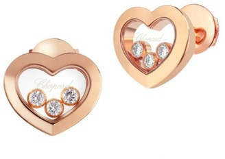 Chopard Happy Diamonds Heart 18K Rose Gold Stud Earrings