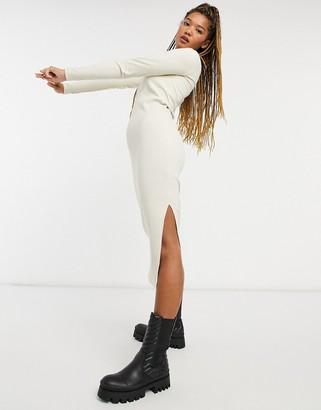 Monki Emma organic cotton rib square neck midi dress in beige