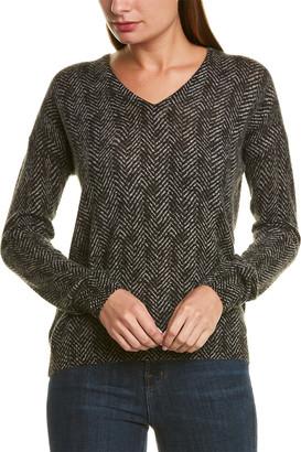Amicale Cashmere Herringbone Cashmere Sweater