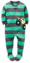 Carter's Monster Truck Striped Zip-Front Footed Pajama in Green