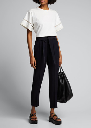 Moncler Cropped Self-Tie Belted Trousers
