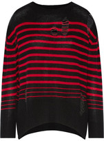 Enza Costa Distressed Striped Wool And Cashmere-Blend Sweater