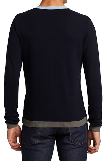 Thumbnail for your product : Saks Fifth Avenue Slim-Fit Colorblock Tip Crewneck Sweater