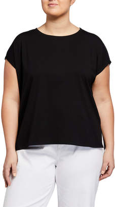 Eileen Fisher Plus Size Short-Sleeve Stretch Jersey Box Top