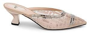 Fendi Women's Colibri Crystal-Embellished Mesh Mules