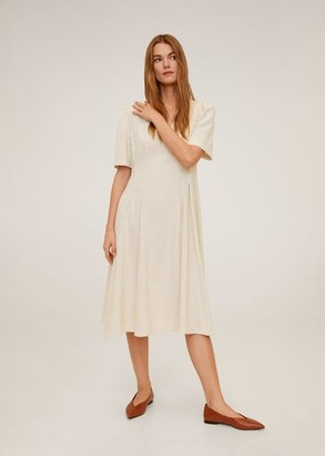 MANGO Pleats detail linen-blend dress beige - 2 - Women