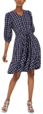 Calvin Klein Belted Plaid Gauze Dress