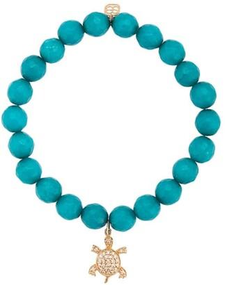 Sydney Evan 14kt Yellow Gold Diamond Turtle Charm Jade Beaded Bracelet