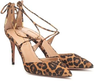 Aquazzura Very Matilde 85 leopard suede pumps