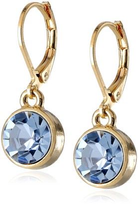 "1928 Jewelry Best of Times"" 14k Gold-Dipped Light Blue Faceted Drop Earrings"