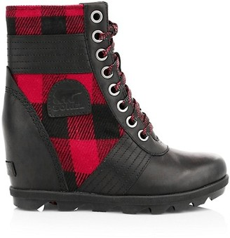 Sorel Lexie Tartan Lace-Up Wedge Boots