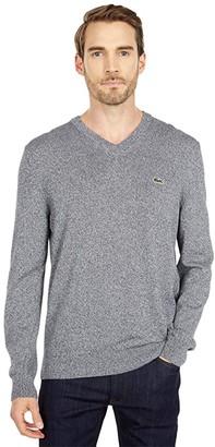Lacoste Long Sleeve Solid V-Neck Sweater (Black) Men's Clothing