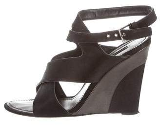Louis Vuitton Satin Crossover Wedge Sandals