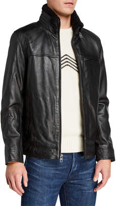 Andrew Marc Men's Leather Zip Front Jacket W Removable Faux Shearling At Collar