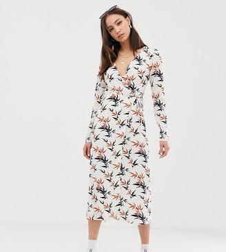 Glamorous Tall midi wrap dress in palm print-Cream