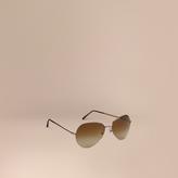 Burberry Half-Frame Aviator Sunglasses