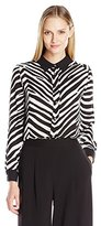 Vince Camuto Women's Long Sleeve Smooth Zebra Button Front Blouse