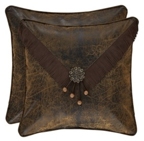"""J Queen New York J Queen Taos Brown 18"""" Embellished Square Bedding"""